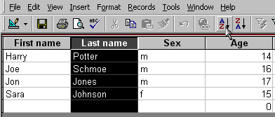 To Sort The Names Alphabetically Highlight Last Name Field At Top Of Database And Hit A Z Icon Thats It